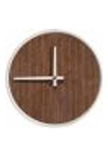 Relógio Decorativo Round Branco Mostrador Pau Ferro Ponteiro Branco 50 Cm Diâmetro