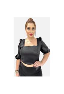Blusa Plus Size Com Decote Quadrado