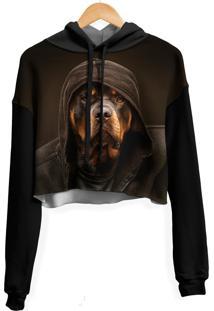 Blusa Cropped Moletom Feminina Over Fame Rottweiler Md01 - Kanui
