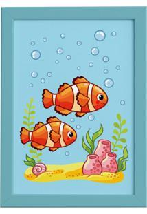 Quadro Infantil Peixes Palhaço Moldura Azul 22X32Cm