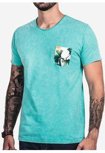 Camiseta Turquesa Marmorizada Bolso Floral 102162