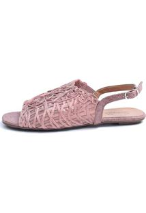 Rasteira Avarca Scarpan Calçados Finos Sandália Em Tecido Tramado Rose - Tricae
