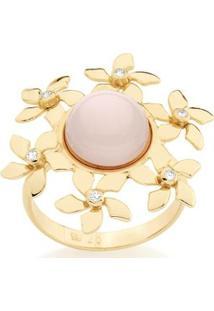 Anel Rommanel Aro Fino Flores Com Meia Pérola E Zircônias - Feminino-Dourado