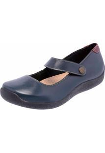 Sapatilha Casual Conforto Em Couro Dr Shoes Marinho