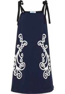 Prada Vestido Reto Com Padronagem - Azul