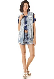 Colete Oversize Jeans Com Tachas