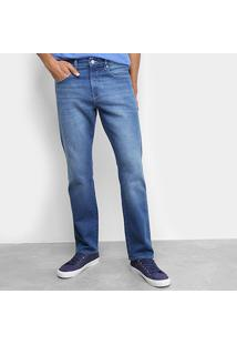Calça Jeans Reta Calvin Klein Estonada Five Pockets Straight Masculina - Masculino-Azul