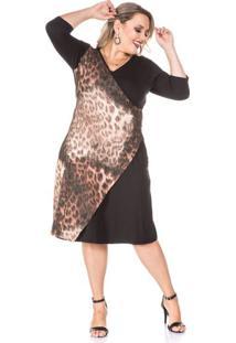 Vestido Transpassado Animal Print Plus Size