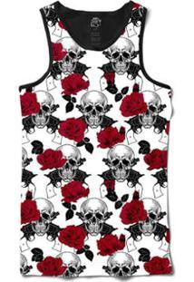 ... Regata Bsc Caveira E Rosas Vermelhas Com Armas Sublimada Masculina -  Masculino-Branco 11d4c8cdcbb