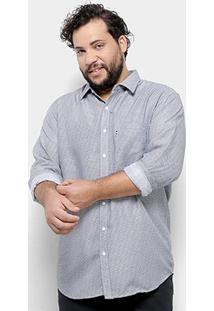 Camisa Social Delkor Plus Size Masculina - Masculino-Cinza