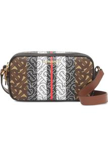 Burberry Mini Monogram Stripe Camera Bag - Preto
