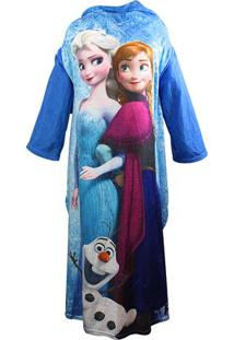 Cobertor Com Mangas Frozen® - Azul & Rosa - 160X130Czona Criativa