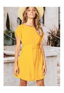 Vestido Europa Curto Com Cinto - Amarelo