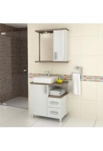 Gabinete Para Banheiro Com Espelheira Balcony Dallas 65 Não Acompanha Torneira Artico/Linho