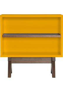 Aparador De Sofa Mao Amarelo Com Divisória Nogal 60Cm Fino Móveis