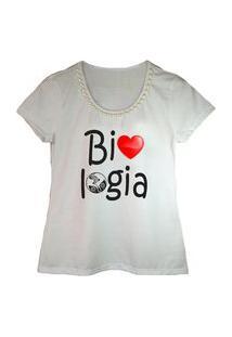 Camiseta Bordada Estampa Biologia Branca Calupa