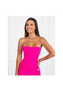 Corselet Miss Misses Com Barbatanas Pink