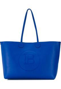 Balmain Bolsa Tote Média Com Logo Gravado - Azul