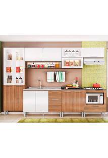 Cozinha Emanuella 0422T 13 Portas C/ Tampo – Genialflex - Castanho / Branco