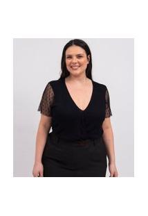 Blusa Gola V Em Tule Poá Curve & Plus Size | Ashua Curve E Plus Size | Preto | Gg