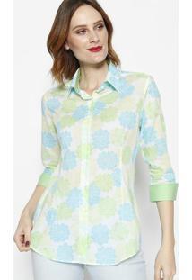 Camisa Floral Com Botãµes- Verde & Azul- Dbz Jeansdbz Jeans