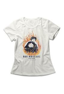Camiseta Feminina Fullmetal Alchemist Roy Mustang Off-White