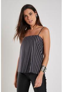 Blusa Listra Pb Sacada Listrado Feminina - Feminino-Preto+Branco