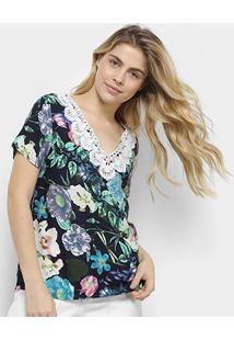 Blusa Mi Floral Gola V Guipir Feminina - Feminino-Azul
