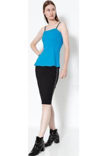 Blusa Lisa Com Alça- Azul & Preta- Colccicolcci
