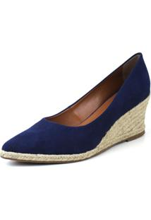 Scarpin Anabela Flats&Co Suede Azul