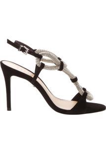 Sandália Salto Crystal Rope Black | Schutz