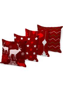 Kit 4 Capas Para Almofadas Love Decor - Beautiful Christmas Vermelha 45X45Cm - Kanui