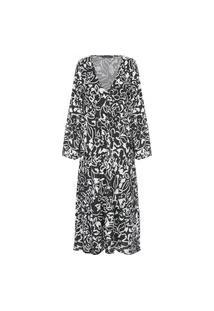 Vestido Longo Mullet Floral - Preto