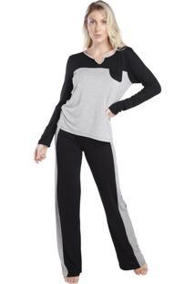 Pijama Feminino De Manga Longa Bicolor Preto E Mescla - Tricae