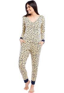 Pijama Feminino De Manga Longa Com Bolso Feline Sleepy
