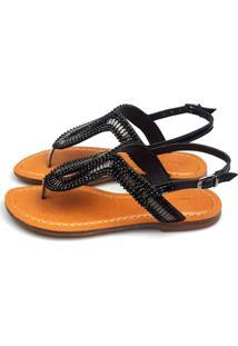 Sandalia Love Shoes Recouro Rasteira Gota Pedraria Preta