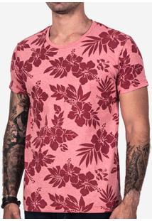 Camiseta Hibiscos Vermelha 101921