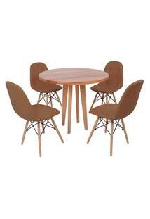 Conjunto Mesa De Jantar Em Madeira 90Cm Com Base Vértice + 4 Cadeiras Botonê - Marrom