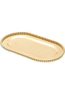 Bandeja Oval De Zamac Balls, Dourado, Lyor