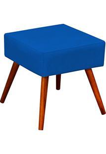 Puff Banqueta Decorativa Com Pés Palito Lívia Suede Azul Royal - Lymdecor