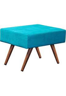 Puff Decorativo Charme Retangular Suede Azul Turquesa - D'Rossi.