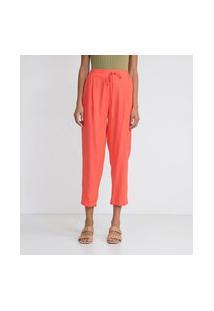 Calça Em Linho Fit Pijama | Marfinno | Laranja | M