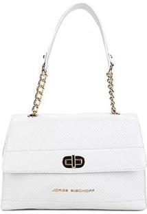 Bolsa Couro Jorge Bischoff Handbag Snake Light Alça Meia Corrente Feminina - Feminino-Branco