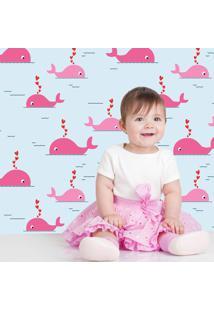Papel De Parede Baleia Bebe Pink
