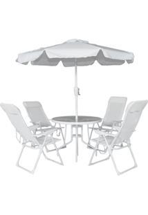 Conjunto Para Jardim Bel Lazer 83000 Mônaco Mesa Com 4 Cadeiras E Ombrelone Branco