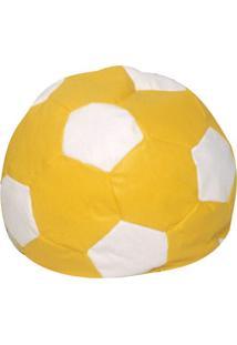 Puff Infantil Bola De Futebol Em Courino - Amarelo E Branco - Stay Puff