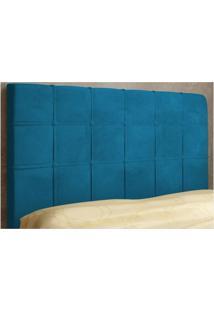 Cabeceira Para Cama Box Queen Veneza 160 Cm De Largura Suede Azul