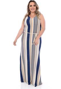 Vestido Plus Size Arimath Plus Longo Cru Listrado Azul