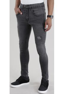 Calça Jeans Biker Com Algodão + Sustentável Preta