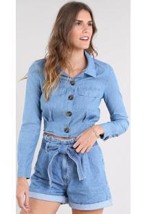 5fc84d86e432 ... Camisa Jeans Feminina Cropped Com Bolsos Manga Longa Azul Claro